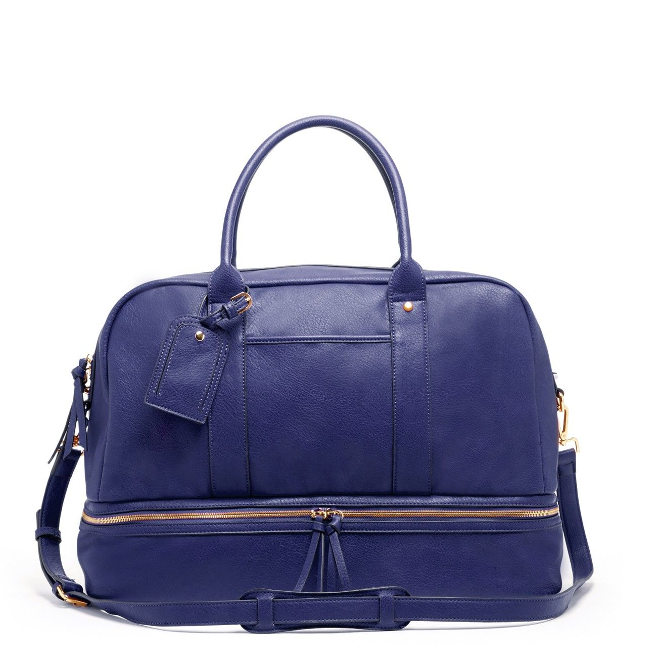Roomy Midnight Blue Travel Bag With A Zippered Shoe Compartment And Removable Crossbody Strap Great For Weekend Trips