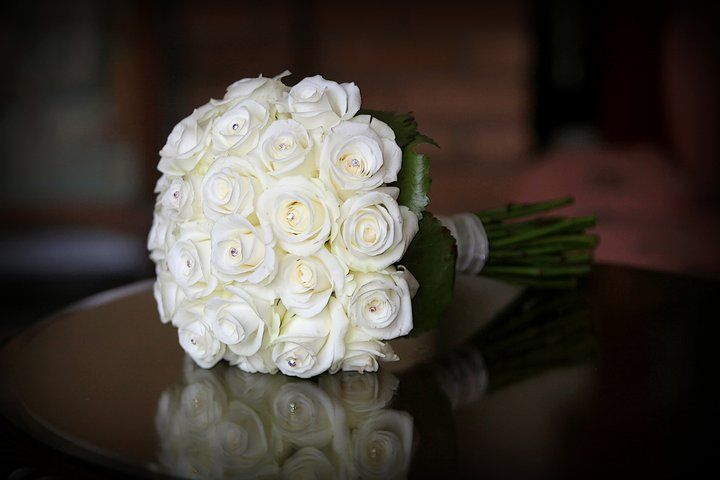 Rose Cluster Bouquet with diamante pins. lovely.