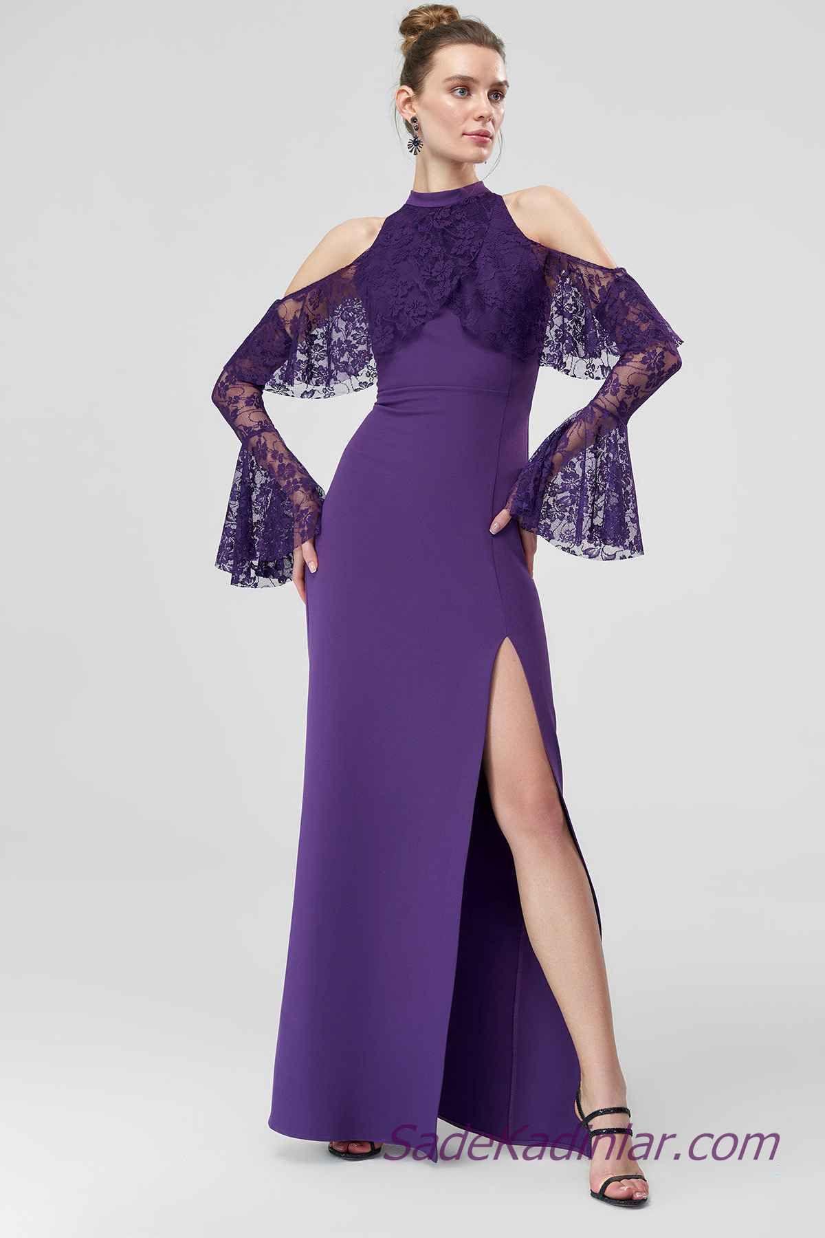 2021 Abiye Elbise Modelleri Mor Uzun Omuzlar Acik Yakali Gupur Dantelli Yirtmacli Elbise Elbise Modelleri Balo Elbisesi