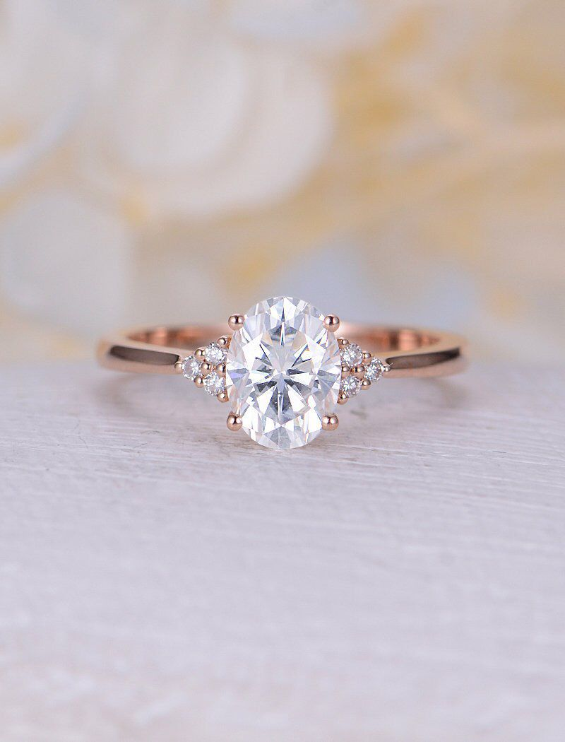 Vintage Moissanite Engagement Ring Rose Gold Oval Engagement Ring