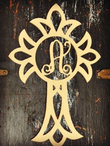 Cross Monogram Letter, Frame Wooden - Unfinished DIY Craft ...