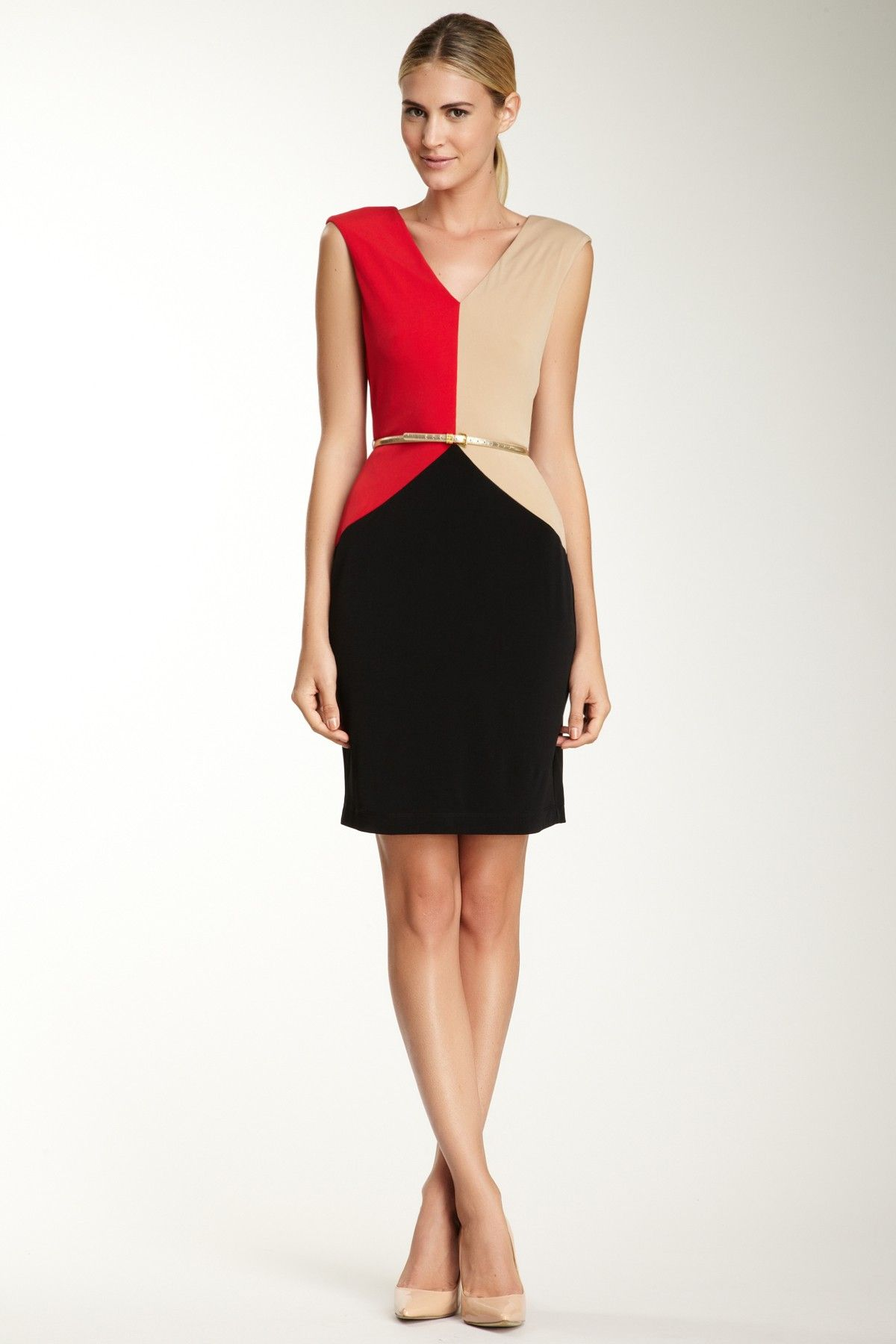Calvin Klein Cap Sleeve Colorblock Dress | Modas | Pinterest ...