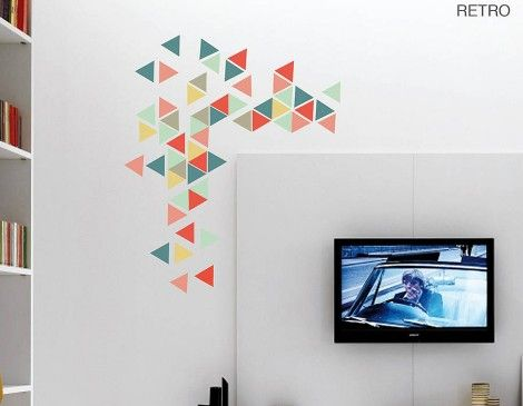 Geometric triangles vinyl wall sticker set contemporary wall stickers