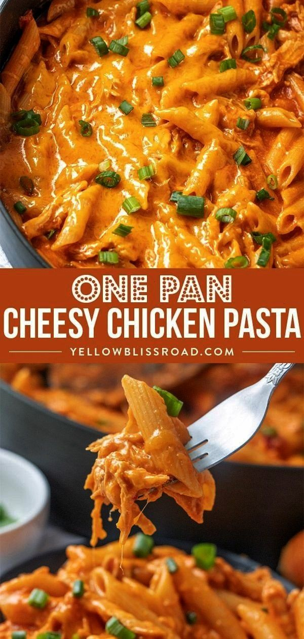 Cheesy Chicken Pasta is creamy and simple to make with just a few ingredients and one pan for easy clean up Its the perfect weeknight dinner via Kristin B  Yellow Bliss R...