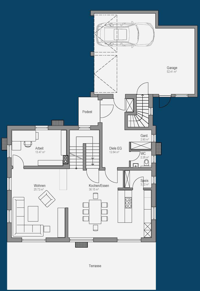 Landhaus mit Giebel und Balkon