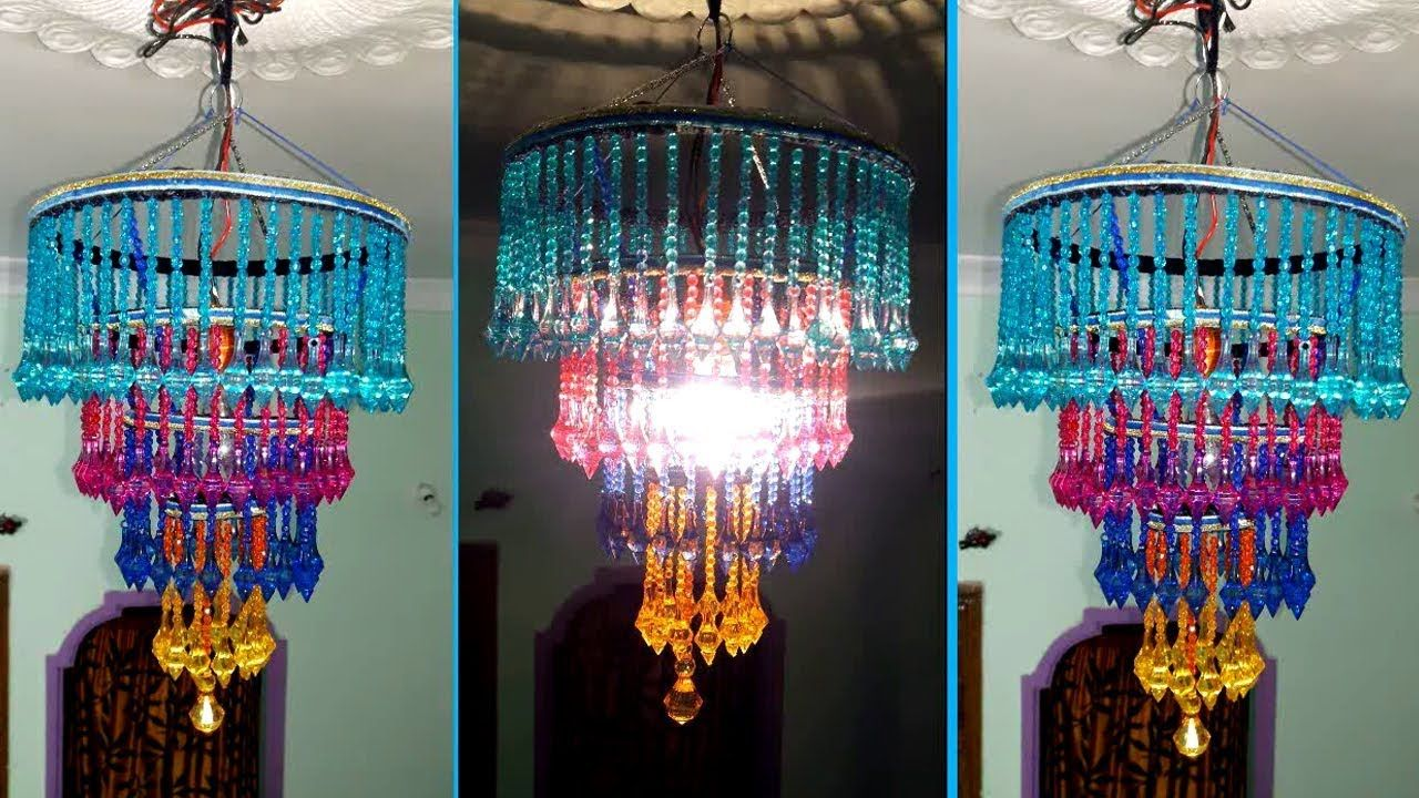 How To Make Jhumar/Chandelier   Wall Hanging Decoration   Beaded ...