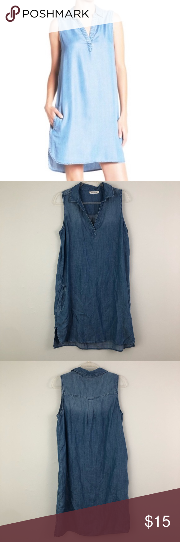 1dce9d8fb5 Beach Lunch Lounge Chambray Shift Dress Collared Beach lunch lounge  chambray shift dress. Collared and