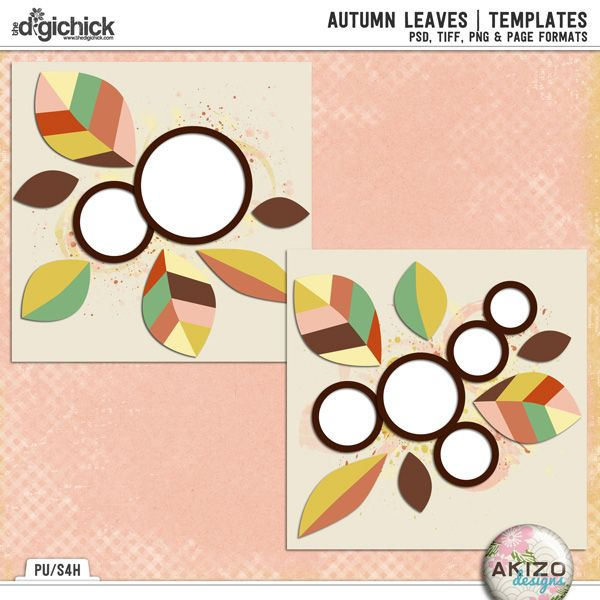Autumn Leaves | Templates by Akizo Designs for Digital Scrapbooking Layout Page