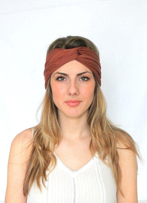 Turban Yoga Hair Band Twisted Brown Headband Head by BowandStitch, $17.50