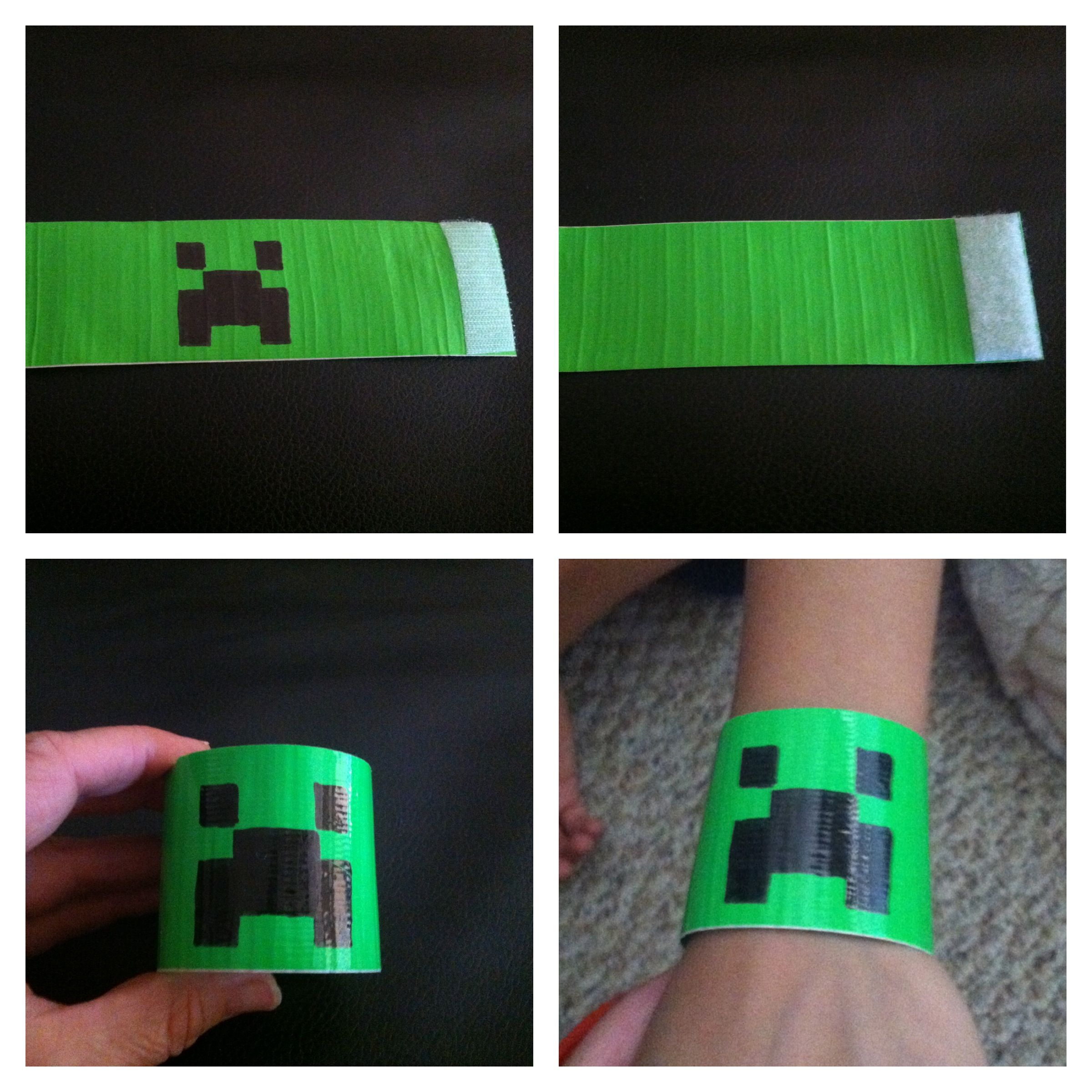 Minecraft party idea. Creeper bracelets made from duct tape and velcro. Huge success
