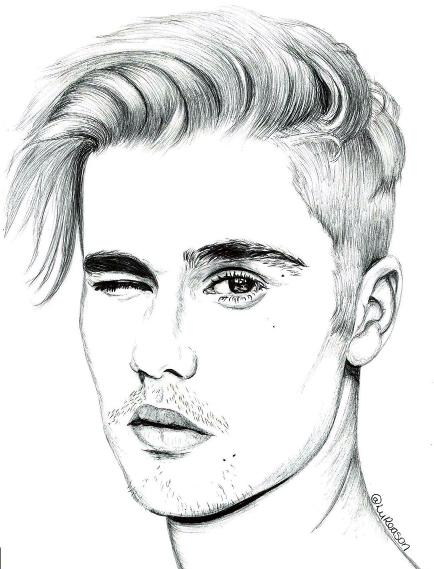 Justin bieber male face drawing face sketch celebrity drawings pencil drawings cartoon