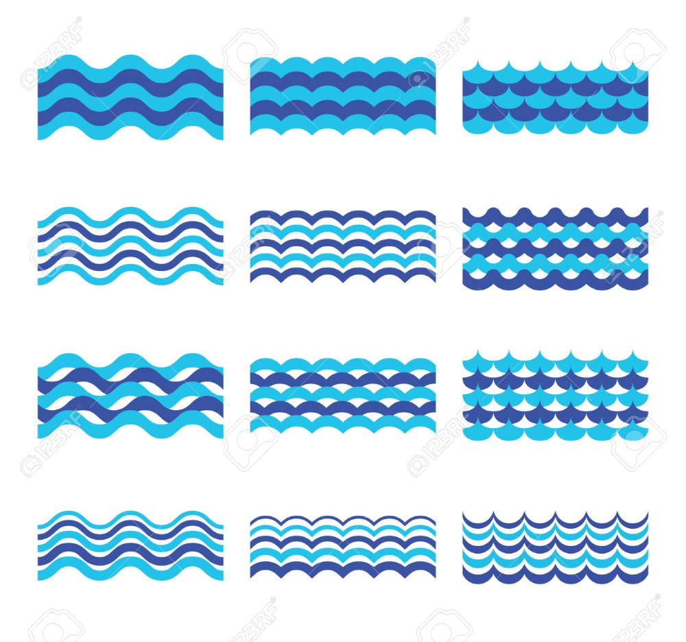 Marine Sea Ocean Waves Vector Set Sea Water Wave Element Waves Vector Ocean Waves Wave Clipart