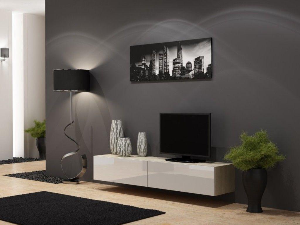 Tv Board Lowboard Vigo Hangeschrank Wohnwand 180cm Farbe Sonoma Eiche Matt Weiss Hochglanz Living Room Tv Living Room Sets Living Room Tv Unit Designs