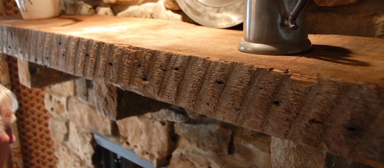 Reclaimed Antique Rough Sawn Fireplace Mantel Elmwood