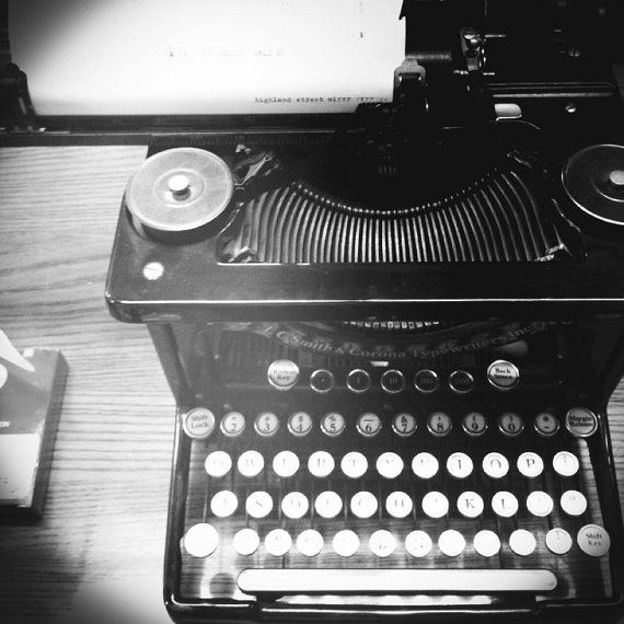 New in Etsy shop: Black and white vintage typewriter photo, 8x8 or 5x5 print, home decor, photography, fine art