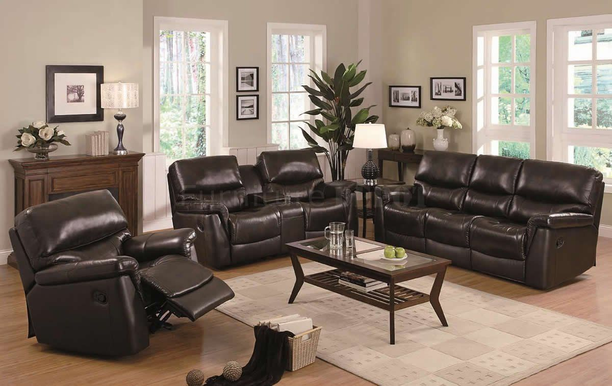 Best Brown Leather Modern Reclining Sofa Loveseat Set W 400 x 300