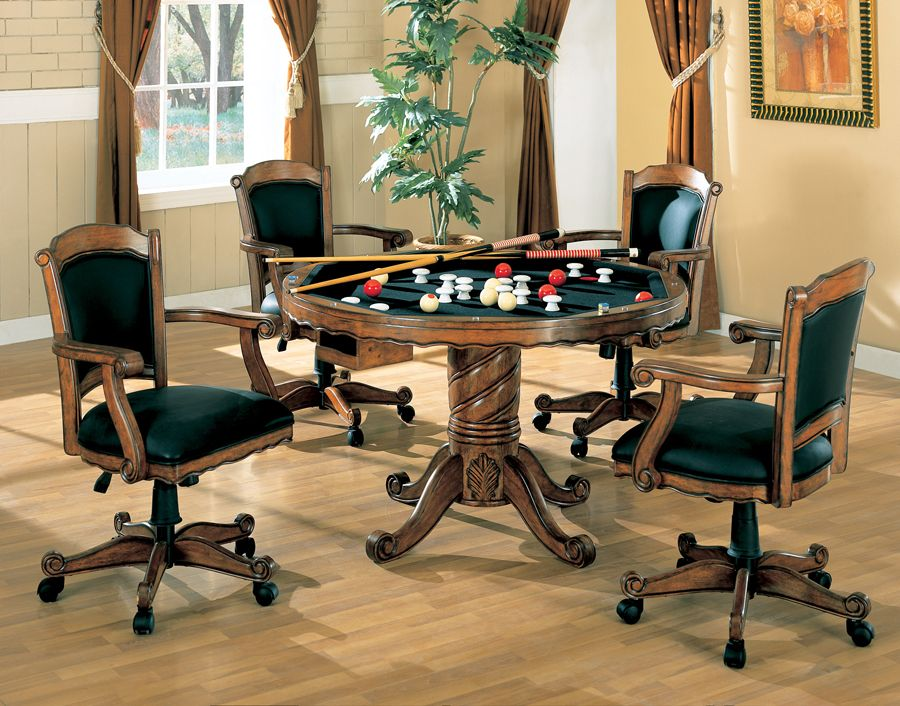 Coaster Multi Purpose Dining Table with 4 Game Chairs
