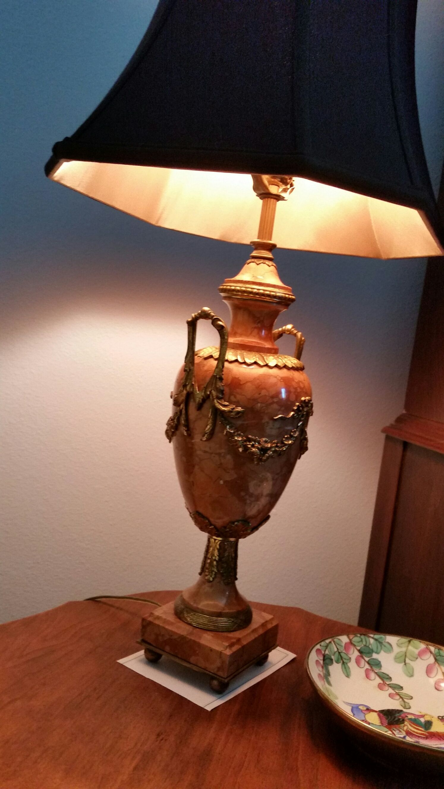 Circa 1800's French Marble and Ormalu Lamps, (pair) with shantung shades. Liking the M's on the side handles.