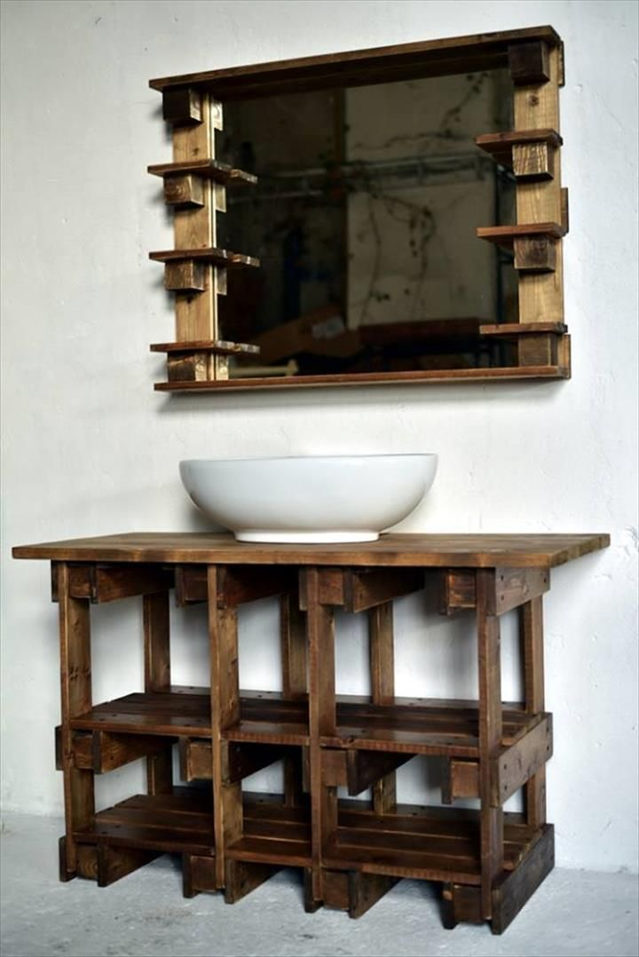 Pallets Wood Bathroom Mirror And Vanity
