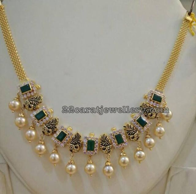 Simple Peacock Emerald Short Necklace Ani S Jewellery Gold