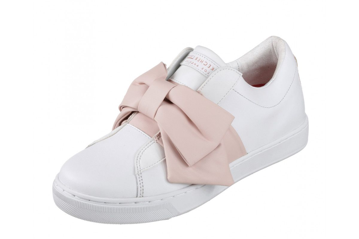 SKECHERS STREET NEW Prima Little Bow white leather pink fashion trainers sz 3 8