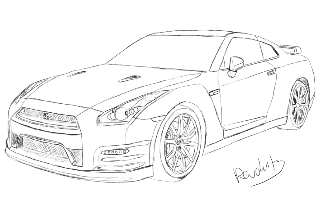 nissan gtr nismo coloring pages | draw nissan gtr | nissan gtr drawing by revolut3 ...