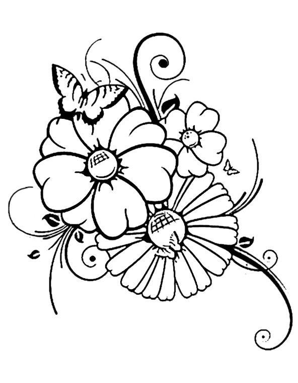 Malvorlagen Blumen Mit Schmetterling | My blog