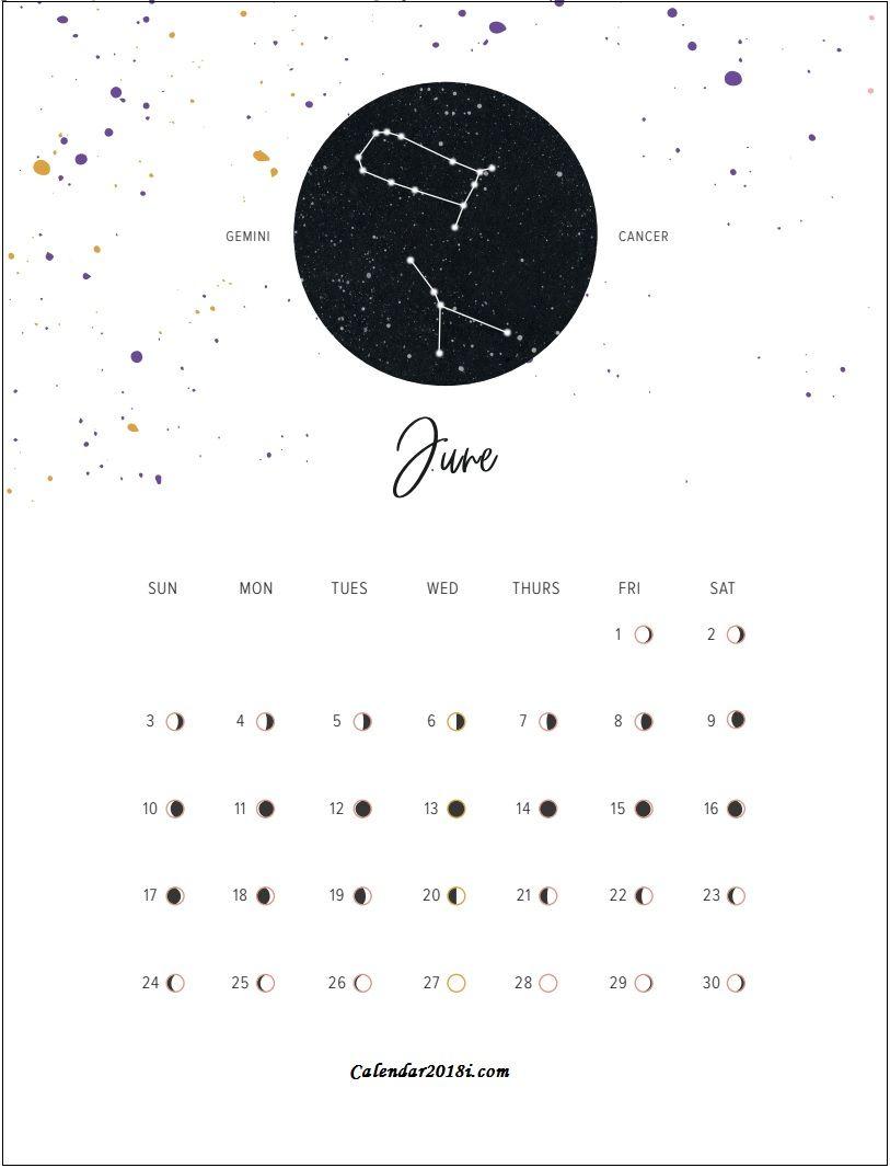 Moon Phases June 2018 Calendar Calendar 2018 Pinterest