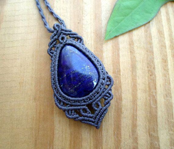 Lapis lazuli macrame pendant macrame jewelry lapis necklace micro lapis lazuli macrame pendant macrame jewelry lapis necklace micro macrame lapis lazuli jewelry hippie pendant healing jewelry mozeypictures Images