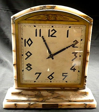 Hardy Brothers Art Deco marble mantle clock