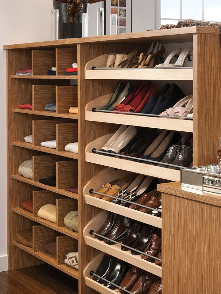 Vertical Shelf Dividers And Adjustable Shoe Shelves Wood Mode