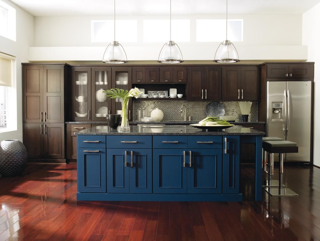 Americana Inspired Blue Hues Aren T Just For Independence Day The Striking Blue Lagoon Finis Blue Kitchen Island Dark Blue Kitchen Cabinets Dark Blue Kitchens
