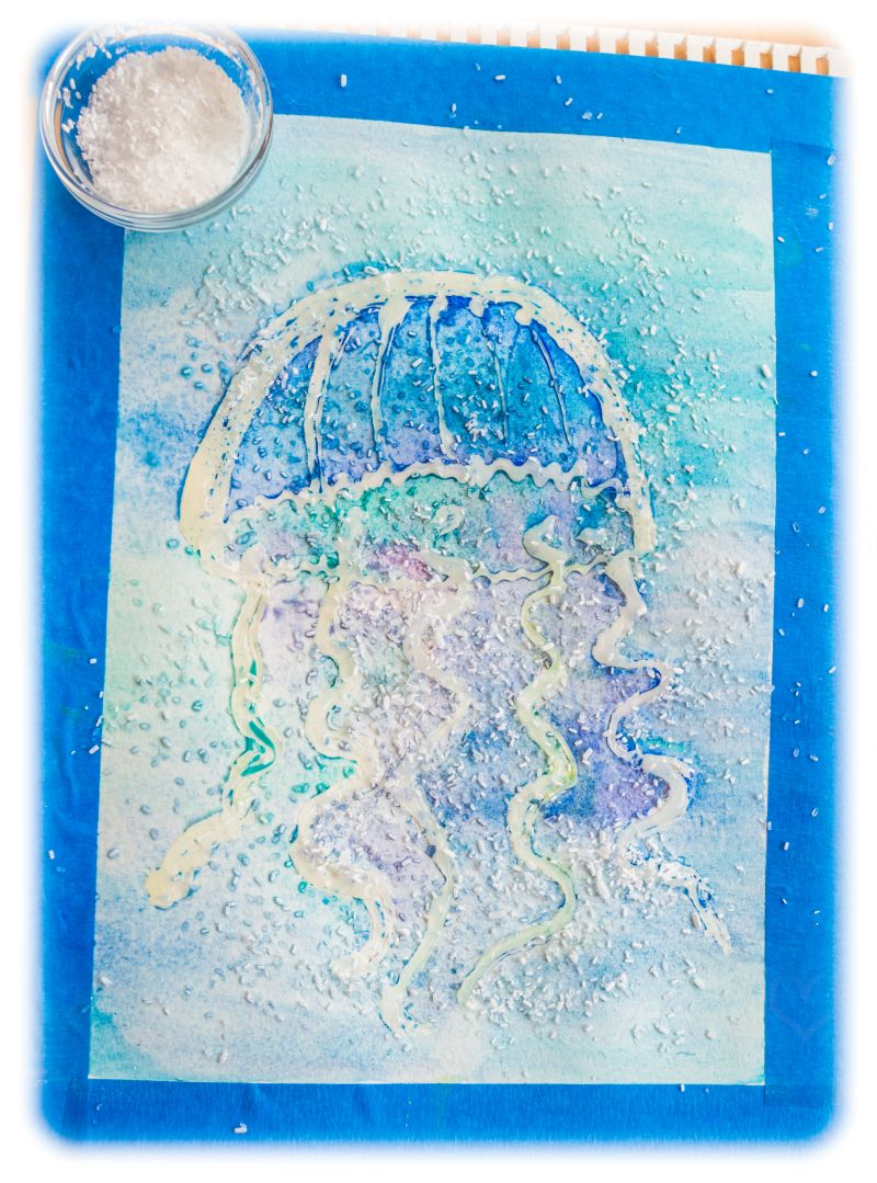 3d Jellyfish Watercolor Hot Glue Texture Raised Salt Painting