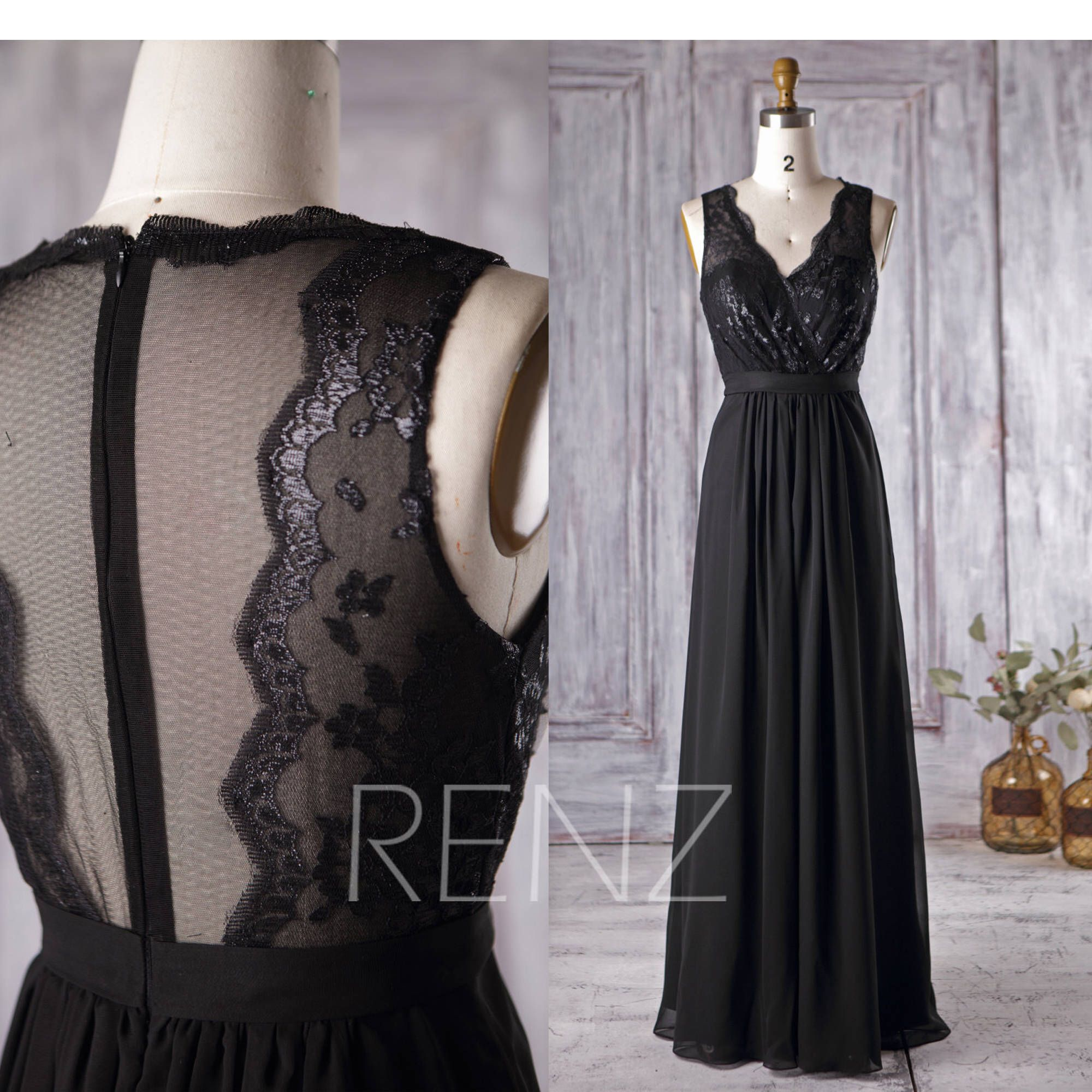 Black Chiffon Bridesmaid Dress V Neck Lace Wedding Dress Long Illusion Neck Prom Black Chiffon Bridesmaid Dresses Long Wedding Dresses Wedding Dress Necklace