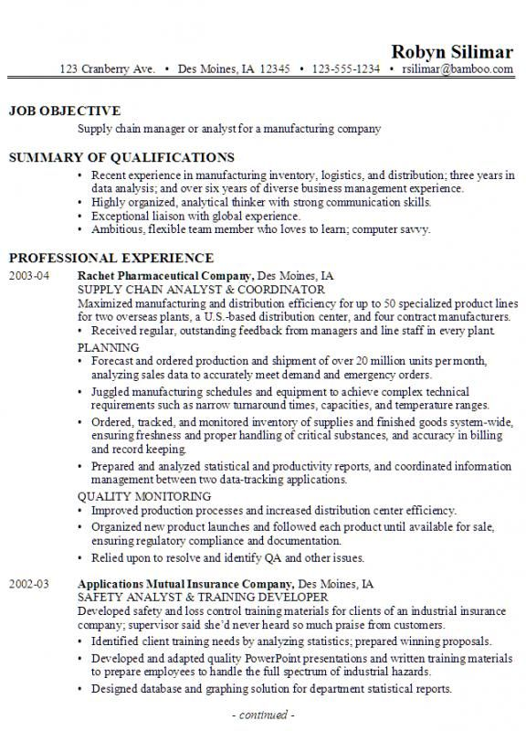logistics business analyst sample resume