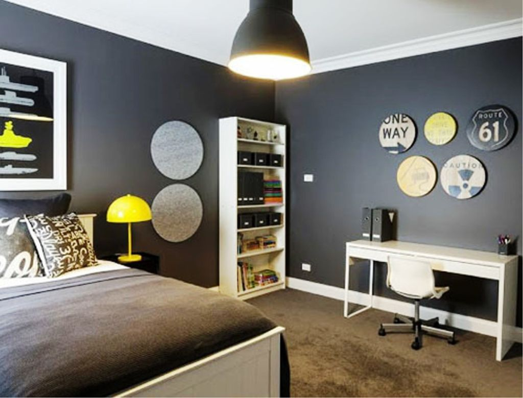 Teenage boys bedroom furniture - Bedroom Teen Boy Bedroom Ideas In Grey Theme With Dark Grey Wall And Brown Carpet Combined With White Wooden Bed And White Wooden Furniture Also Yellow Lamp