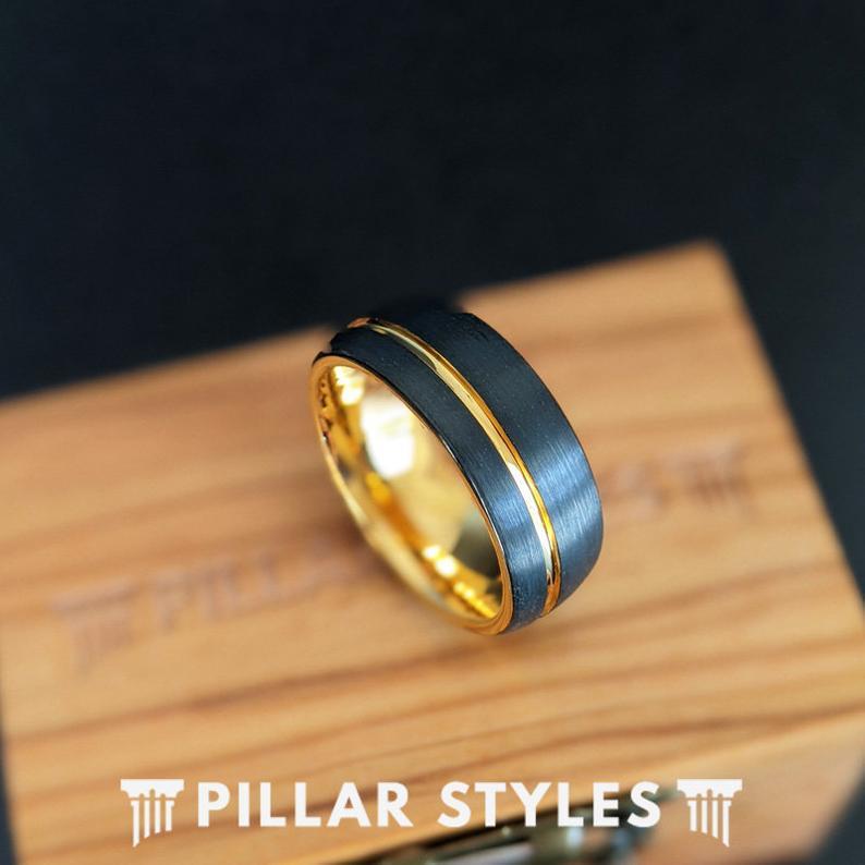 14k Gold Wedding Band Mens Ring Yellow Gold Mens Wedding Band Etsy In 2020 Mens Wedding Bands Tungsten Tungsten Mens Rings Black Tungsten Rings