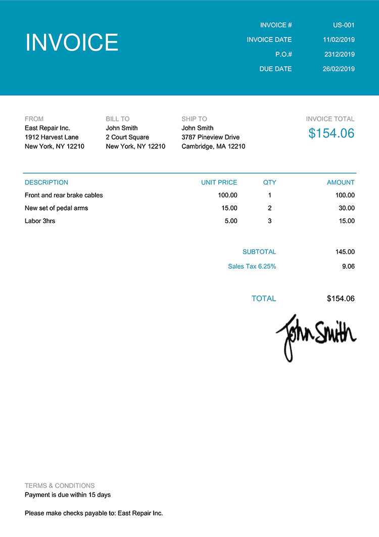 Invoice Template Us Contemporary Teal Invoice Template Credit Card Readers Event Venue Business