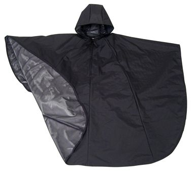 """Hooded Cape Wheelchair Rain Poncho  Hooded Rain Poncho is made with state of the art waterproof/breathable fabric so you stay comfortably dry.  Clean classic lines -- perfect for both men and women.  Cut shorter in back for comfort when sitting in wheelchair or scooter.  Ample over-the-knee coverage.  One size fits most. Approximate measurements -- Front length: 40""""; Back length: 28""""; Neck to wrist length: 24""""  Machine washable. Made in USA"""