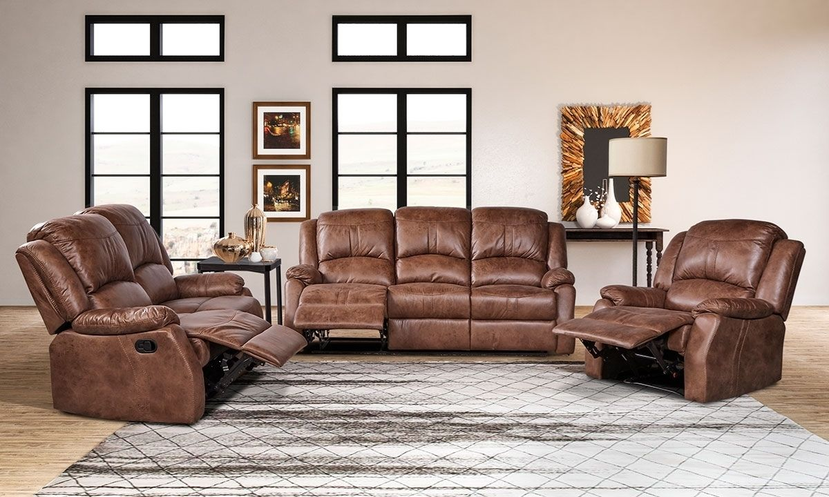 Daria 3 Piece Brown Faux Leather Reclining Living Room Set With