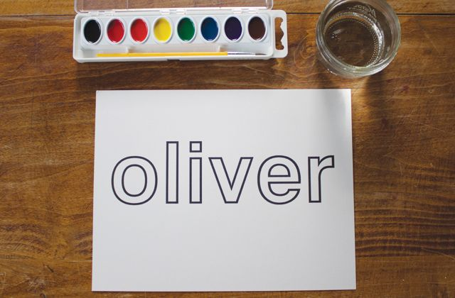 { Watercolor Name Painting } outline the letters in crayon so it creates a resist.
