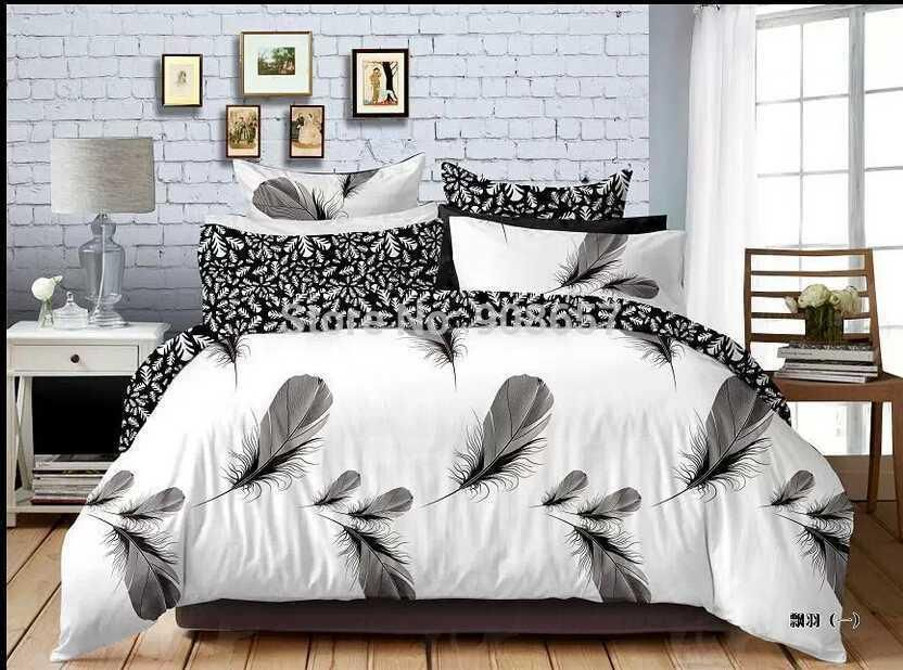 2021 Black White Feather Print Bedding Set Boys Gentleman Home Comforter Cover Cotton Fabric Full Queen Size Duvet Cover Sheet Set From Minyu2015 141 30 Dhg White Bed Set Comforter Cover
