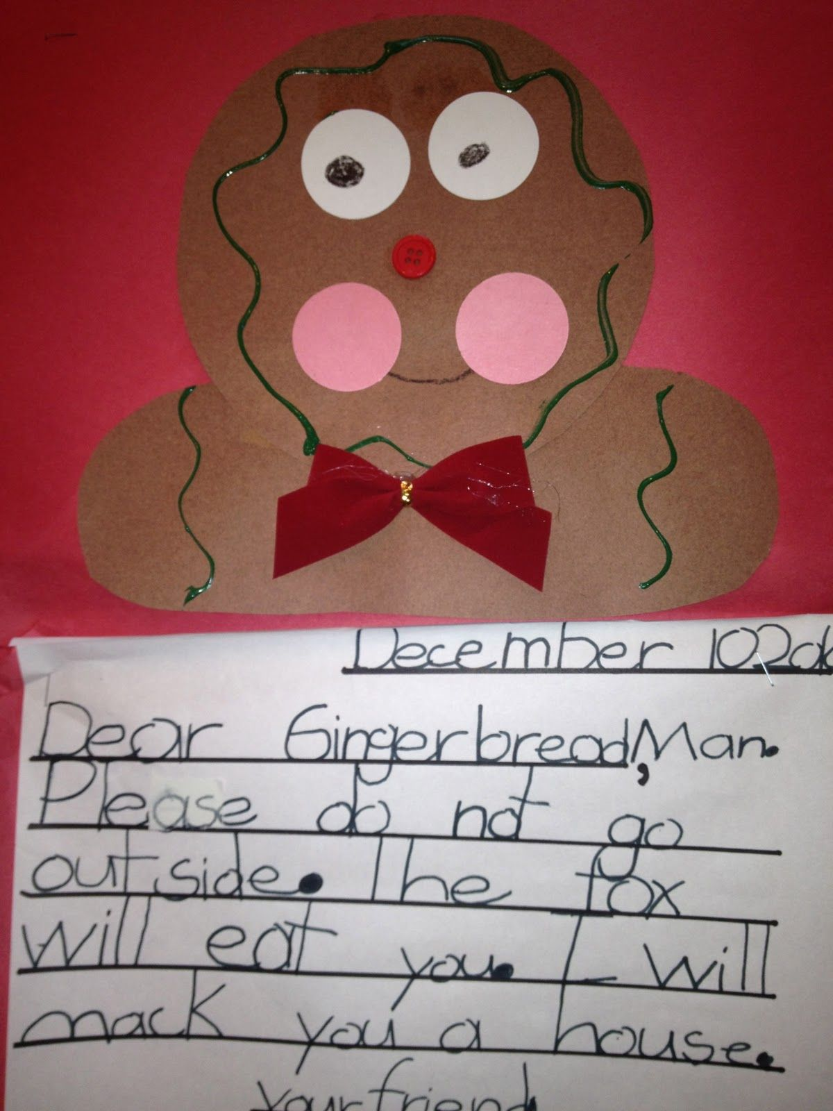 My First Grade Backpack Letters To The Gingerbread Man