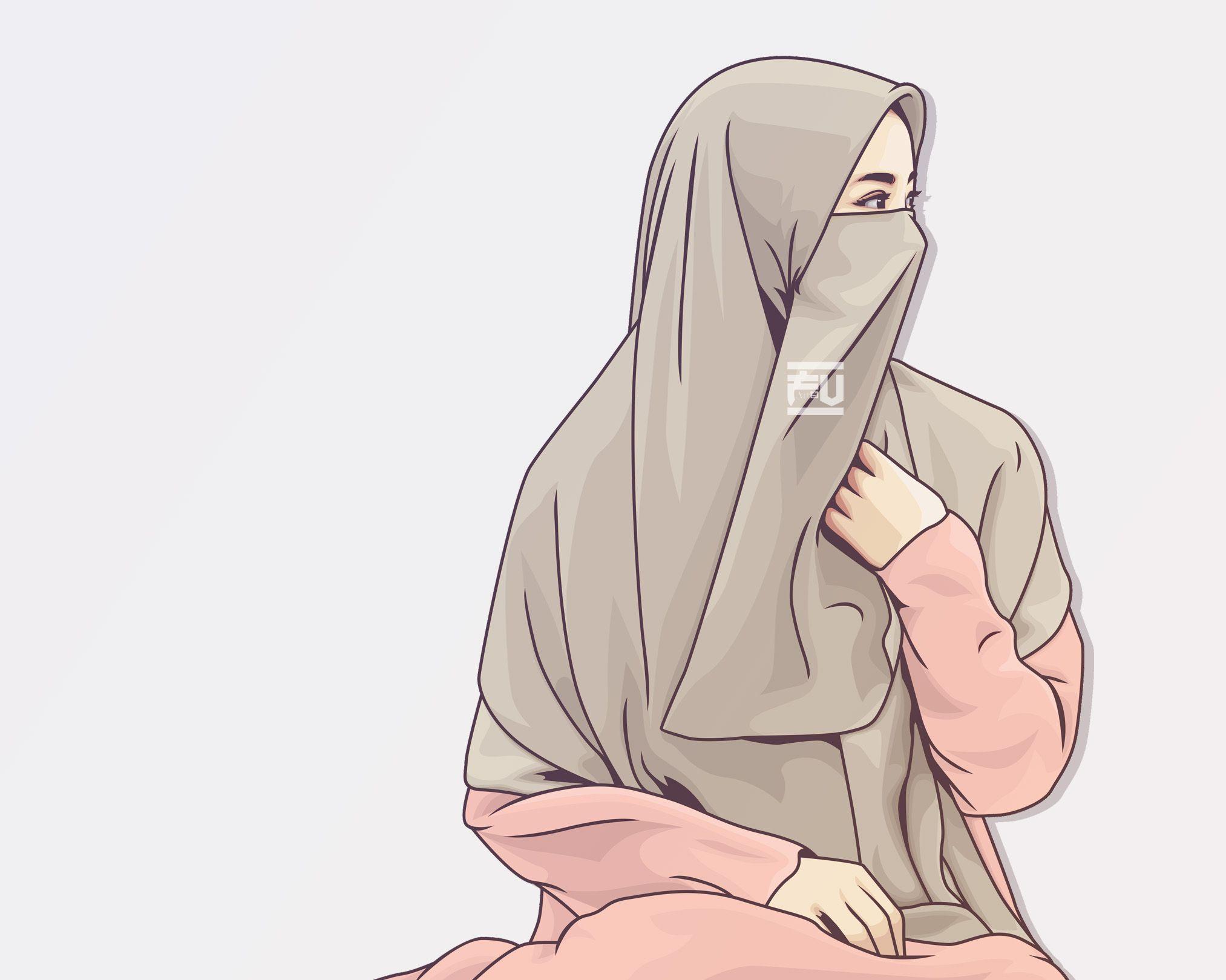 vector hijab niqab ahmadfu22 Kartun, Gambar, Wanita