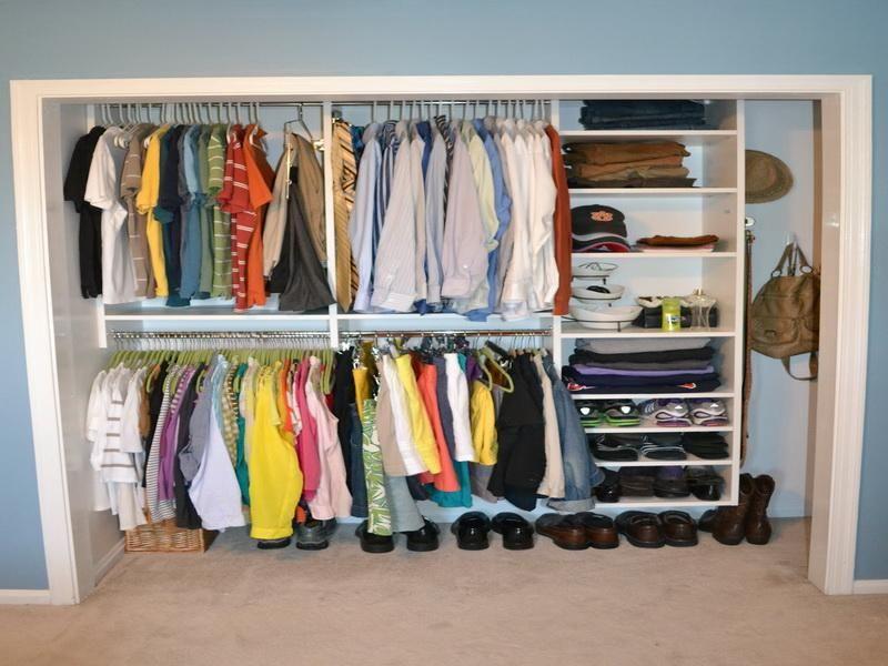 Organized Small Closet Shelving