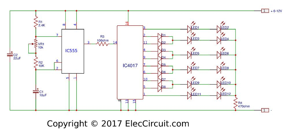Led Chaser Circuit With Pcb Layout Running Lights Eleccircuit Com In 2020 Circuit Led Running Lights