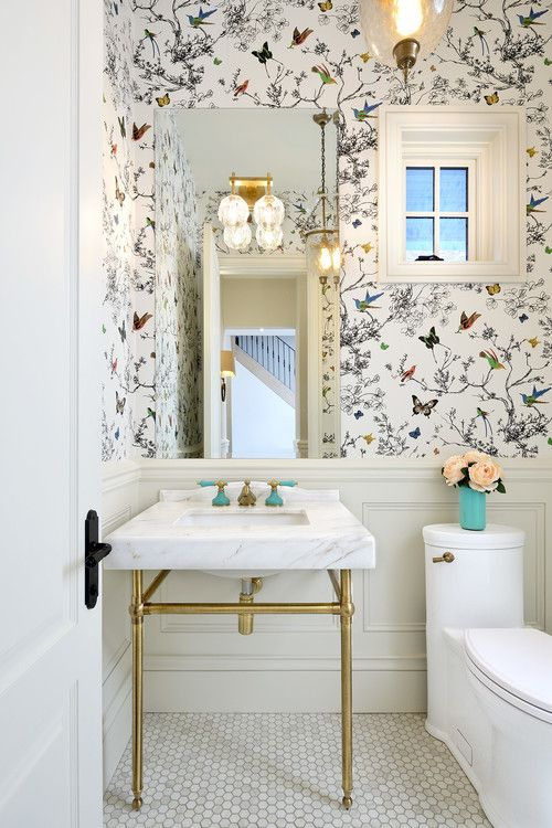 What Is Wainscoting Pros Cons And Costs Of This Trendy Wall Decor Powder Room Wallpaper Bathroom Wallpaper Powder Room Design