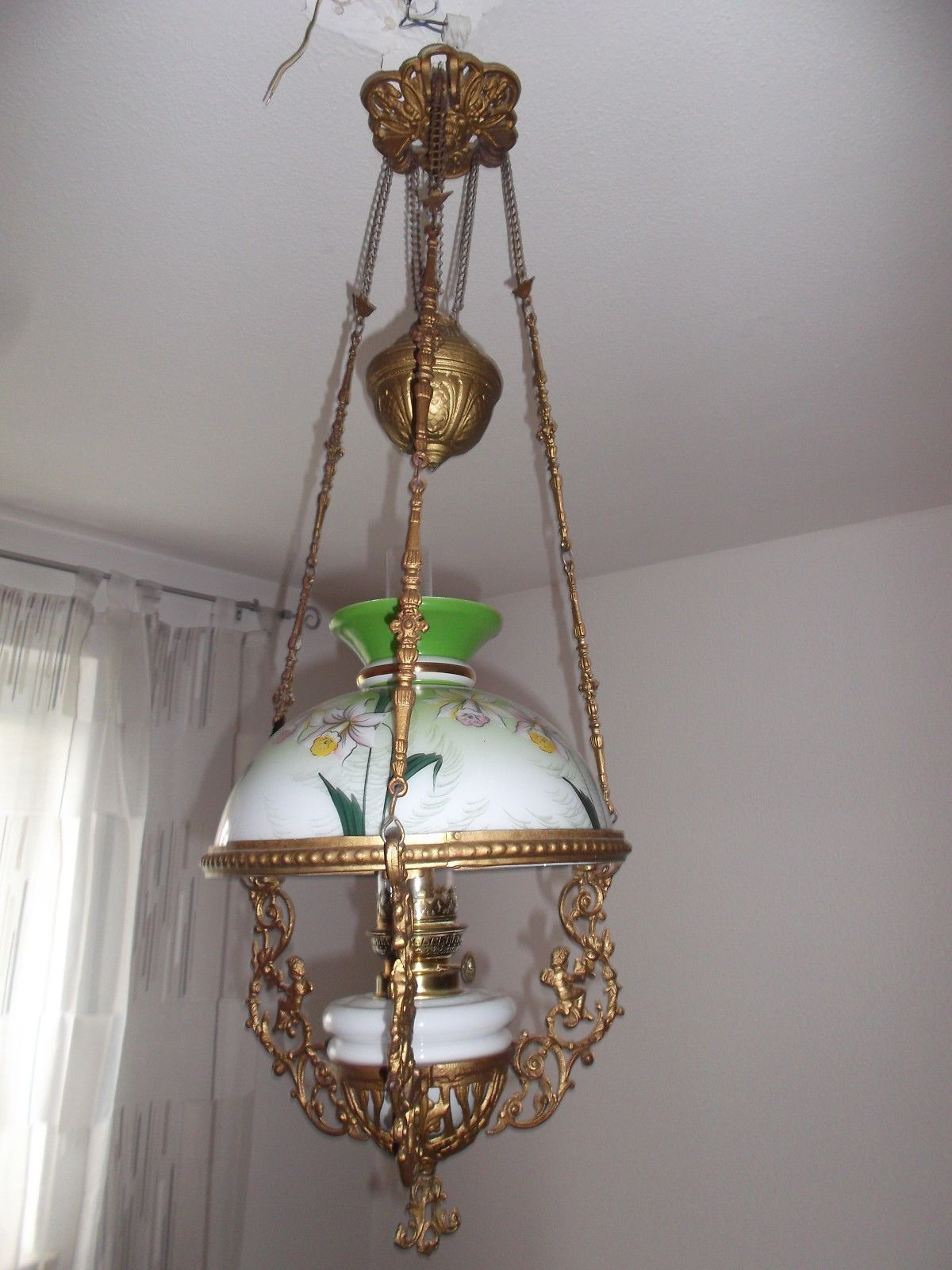 Hanging Oil Petroleum Kerosene Lamp Shade Gaudard A P Morbier ...
