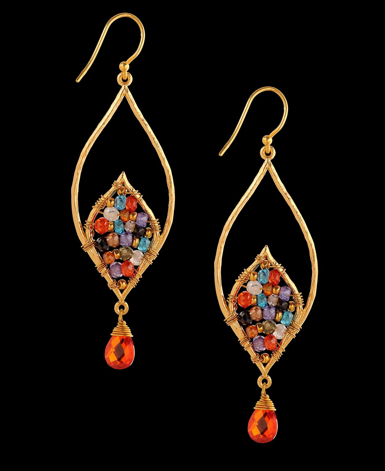 Mashka Multi Stone Leaf Earrings