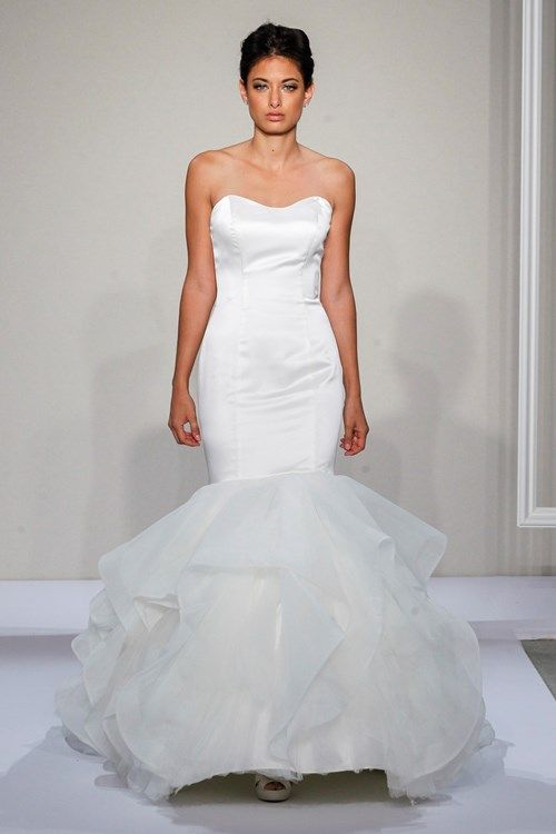 Dennis Basso Strapless Mermaid Gown in Satin and Tulle ...